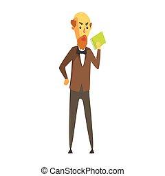 ficar, barbudo, seu, coloridos, mão., calvo, personagem, arco, casaco, livro, laço, caricatura, homem