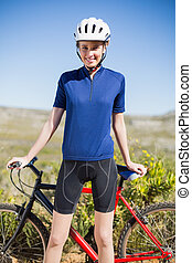 ficar, bicicleta, mulher segura, frente