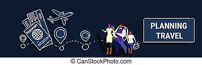 ficar, bilhetes, esboço, conceito, família, pessoas, viagem, hotel, fluxo, estilo, junto, filho, planificação, pais, escolher, horizontais, feriado, bandeira, rota, reserva