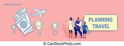 ficar, bilhetes, esboço, conceito, família, viagem, hotel, fluxo, estilo, junto, filho, planificação, pais, escolher, horizontais, feriado, bandeira, rota, reserva