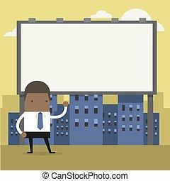 ficar, billboard., grande, africano, frente, homem negócios