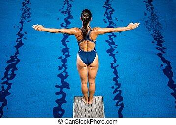 ficar, board., pular, mergulhador, femininas