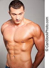 ficar, bom, always, cinzento, muscular, jovem, enquanto, posar, contra, fundo, bonito, forma., homem