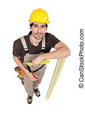 ficar, branca, carpinteiro, fundo, isolado