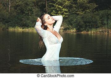ficar, branca, mulher, vestido, water.