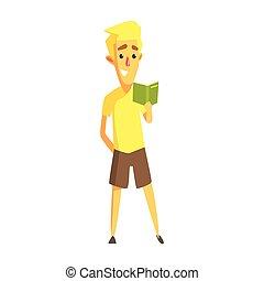 ficar, camisa, coloridos, personagem, jovem, amarela, book., leitura, caricatura, homem
