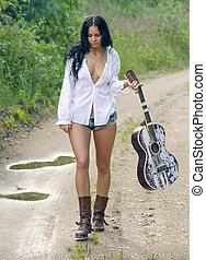 ficar, campo, guitarra, excitado, menina, estrada