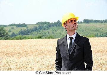ficar, capacete, trabalhador
