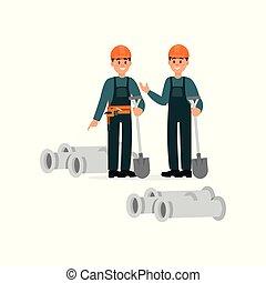 ficar, capacetes, protetor, trabalhadores, ilustração, pvc, vetorial, fundo, canos, construção, branca, pás, overalls