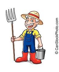 ficar, caricatura, agricultor