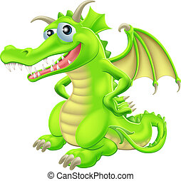 ficar, caricatura, dragão