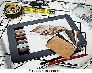 ficar, casa, ilustração, bluprints., decorar home, ferramentas, 3d