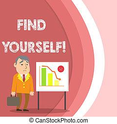 ficar, caso, barzinhos, negócio, foto, mostrando, whiteboard, sumário, você mesmo, chart., yourself., homem negócios, selfsufficient, mão, coisas, conceitual, tornar-se, escrita, texto, achar