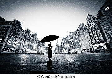 ficar, cidade, guarda-chuva, chuva, cobblestone, criança, sozinha, antigas