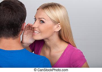 ficar, cinzento, mulher, sabe, fofocas, homens, jovem, isolado, enquanto, secret., ela, contar, atraente