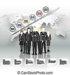 ficar, cinzento, mundo, vetorial, grupo, fundo, negócio, timeline, sobre, map., infographic, desenho, modelo, equipe, profissional, seu