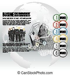 ficar, cinzento, mundo, vetorial, grupo, globe., negócio, timeline, sobre, fundo, infographic, desenho, modelo, equipe, profissional, seu