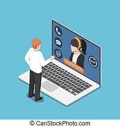 ficar, cliente, isometric, serviço, laptop, online, frente, homem negócios