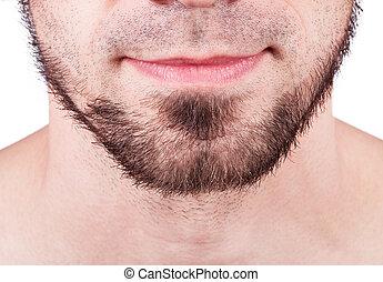 ficar, close-up, jovem, barbudo, contra, cinzento, fundo, homem