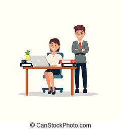 ficar, colegas, escritório, trabalhando, sentando, executiva, laptop, dela, ilustração, ao lado, vetorial, computador, escrivaninha, caricatura, homem