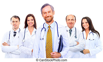 ficar, colegas, grupo, hospitalar, junto, retrato, sorrindo