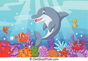 ficar, colle, golfinho, caricatura