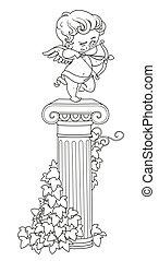 ficar, coloração, coluna, esboçado, cupid, arqueiro, estátua, entwined, hera