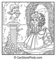 ficar, coloração, coluna, esboçado, parque, cupid, princesa, arqueiro, estátua, entwined, encantador, hera