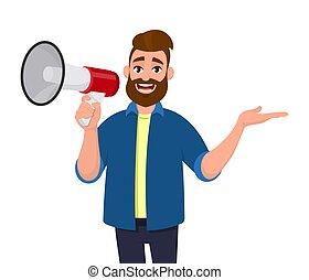 ficar, conceito, anunciar, isolated., lateralmente, mostrando, space., cópia, ilustração, mão, shouting, vetorial, algo, segurando, afastado, megaphone/loudspeaker, caricatura, megafone, style., gesto, homem