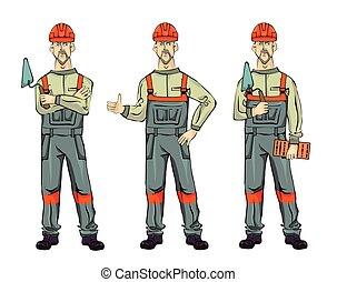 ficar, construtor, experiência., parede, set., isolado, ilustração, uniforme, espátula, vetorial, brick., branca, homem