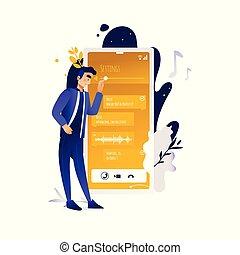 ficar, conversando, móvel, concept., aplicações, dispositivo digital, tela, homem