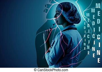 ficar, coração, científico, doutor, colagem, jovem, contra, topics., femininas, fundo