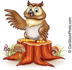 ficar, coruja, seu, toco, árvore, caricatura, waving, asas