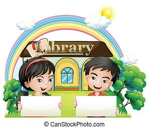ficar, crianças, dois, biblioteca, signboards, frente, vazio