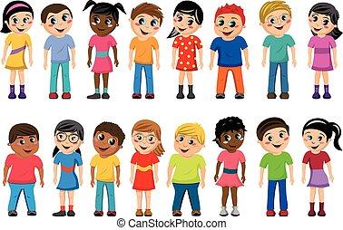ficar, crianças, multicultural, crianças, isolado