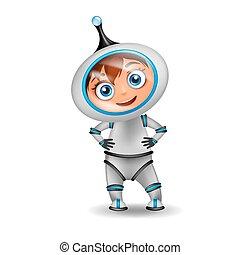 ficar, cute, astronauta, caricatura, isolado