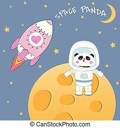 ficar, cute, engraçado, moon., urso, astronauta, panda
