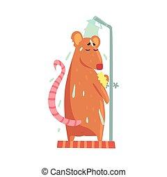ficar, cute, mesmo, coloridos, personagem, rubbing, espuma, rato, ilustração, banho, chuveiro, enquanto, vetorial, cabana, animal, esponja, aparência, caricatura