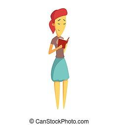 ficar, cute, mulher, coloridos, personagem, jovem, book., leitura, caricatura