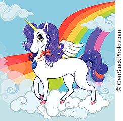 ficar, cute, pônei, personagem, rainbow., unicórnio, nuvens