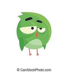 ficar, cute, pequeno, coloridos, personagem, ilustração, pensativo, vetorial, verde, pintinho, pássaro