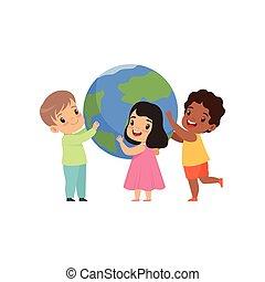 ficar, cute, pequeno, crianças, ao redor, globo, multicultural, aquilo, ilustração, vetorial, fundo, segurando, terra, branca