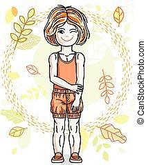 ficar, cute, pequeno, fundo, vermelho-haired, desgastar, clothes., outono, vetorial, human, elegante, menina, casual, paisagem, illustration.