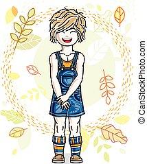 ficar, cute, pequeno, illustration., desgastar, fundo, clothes., outono, vetorial, human, elegante, menina, casual, paisagem, claro-haired
