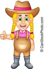 ficar, cute, polegar cima, agricultor, sorrizo, caricatura