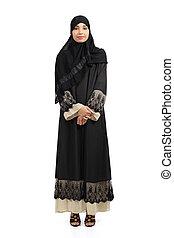 ficar, desgastar, mulher, árabe, posar, hijab