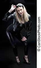 ficar, desgastar, mulher, na moda, preto veste