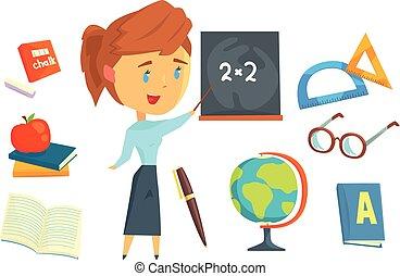 ficar, detalhado, jogo, coloridos, escola, feliz, trabalho, quadro-negro, logo, stationery., ilustrações, caricatura, etiqueta, professor, design.