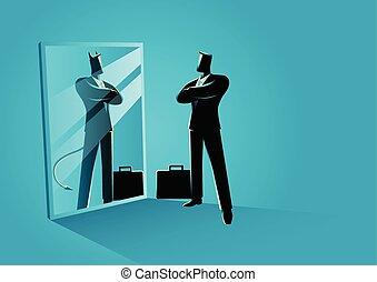 ficar, diabo, frente, refletir, espelho, homem negócios