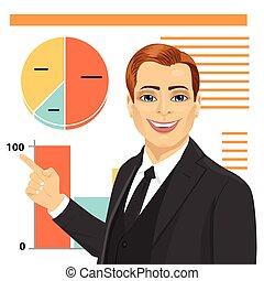 ficar, diagram., negócio, apontar, jovem, gráfico, concept., mapa, inverter, homem negócios, logo, criativo